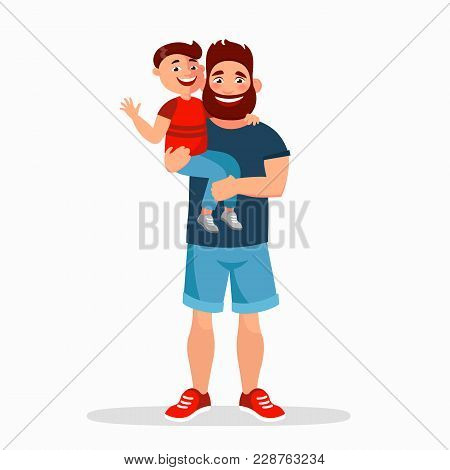 Father And Son Vector Flat Illustration. Father Holding Smiling Child Isolated On White Background.