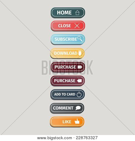Set Of Multicolored Flat Buttons For Websites With Icons On A Grey Background. Colorful Website Butt