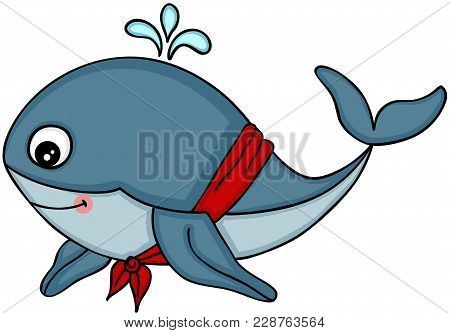 Scalable Vectorial Representing A Cute Whale With With Red Scarf, Element For Design, Illustration I