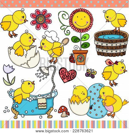 Scalable Vectorial Representing A Spring Little Chick Set Digital Elements For Design, Illustration