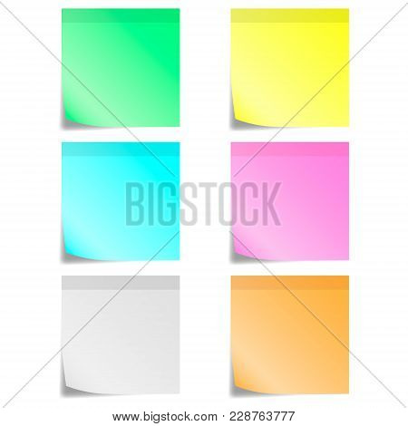 Six Color Of Sticky Notes And Strip. A Vector Illustration.