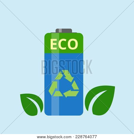 Ecological Battery With Leaves On A Light Blue Background. The Concept Of Ecology, To Save The Plane