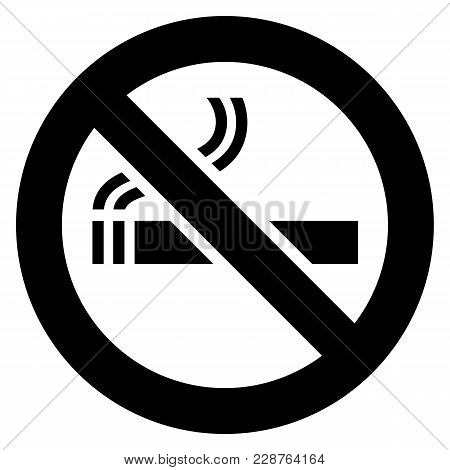 No Smoking Black Sign On A White Background