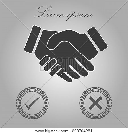 Tick Handshake Sign Icon. Successful Business With Check Mark Symbol. Report Document, Information A