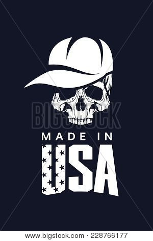 Made In United States Of America Vector T-shirt Logo Isolated On Dark Background. Premium Quality Sk