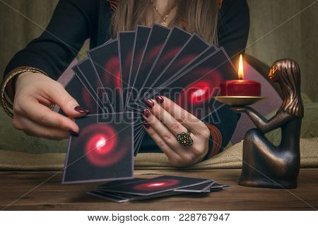 Tarot Cards On Fortune Teller Desk Table. Future Reading Concept. Divination.