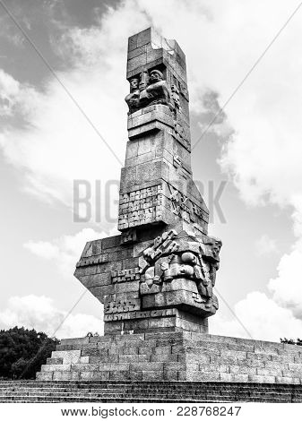 Gdansk, Poland - Circa 2014: Monument On The Westerplatte In Memory Of The Polish Defenders Of Gdans