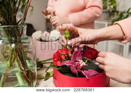 Female Hands Make Bouquet In Red Box At Flower Shop. Carnation, Hypericum, Rose And Orchid In Flower