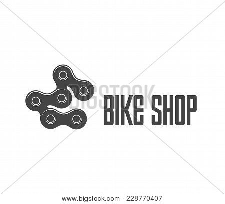 Logo Of Spare Parts Store For Bikes Isolated Vector Illustration. Logotype Of Black Bicycle Chain On