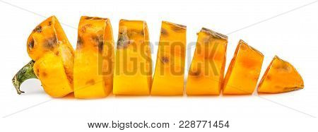 Chopped Rotten Yellow Bell Pepper Isolated On White Background. Unhealthy Food.