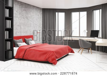 Modern Bedroom And Home Office Corner With Concrete And Gray Walls, A White Floor, A Master Bed And