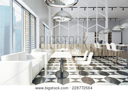 Office Dining Room Area With White Walls, A Tiled Black And White Floor, White Tables And Chiars. 3d
