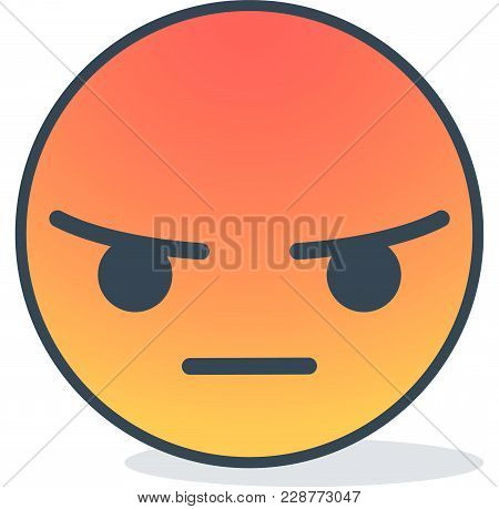 Angry Emoticon. Isolated Vector Emoticon On White Background.