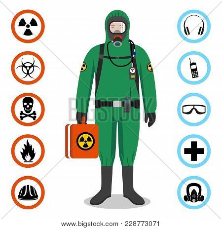 Man In Green Protective Suit In Flat Style. Dangerous Profession. Occupational Safety And Health Vec