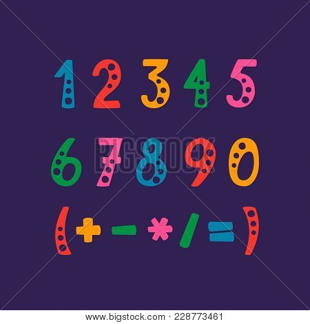 Vector Set Of Numbers And Mathematical Symbols. Objects Isolated On Purple Background.