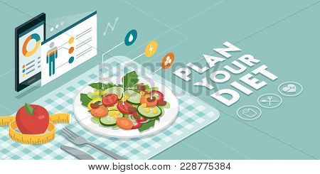 Food And Diet App Showing Nutrition Facts And Calories Of A Meal, Healthy Eating And Technology Conc