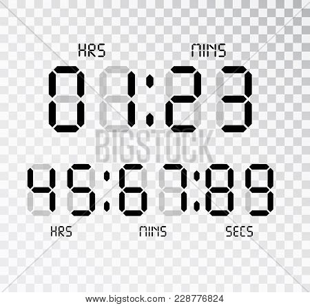 Digital Clock. Calculator Digital Numbers Isolated. Alarm Clock Letters. Numbers Set For A Digital W