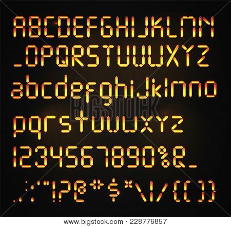 Digital Font Isolated. Glowing Realistic Digital Alphabet. Alarm Clock Letters. Numbers And Letters
