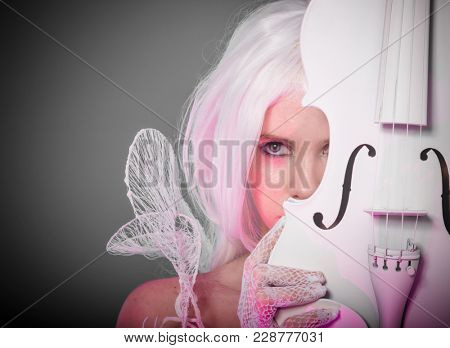 Symphony violinist, woman with string musical instrument in a white gothic style