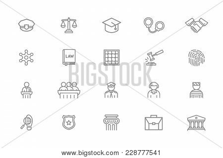 Set Of Vector Crime, Law, Police And Justice Line Icons. Sheriff Star Badge, Jury, Defendant, Judge,