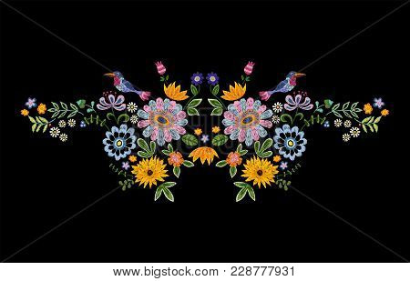 Embroidery Neckline Pattern With Bird And Fantasy Flowers. Vector Embroidered Floral Design For Fash