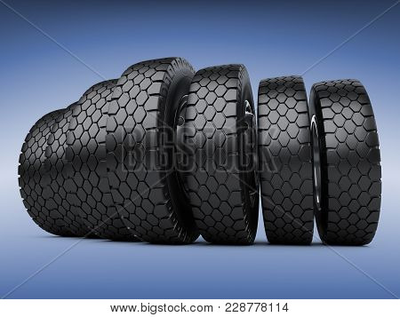 Row Of Big Vehicle Truck Tires. New Car Wheels. 3d Illustration Over Dark Blue Background.