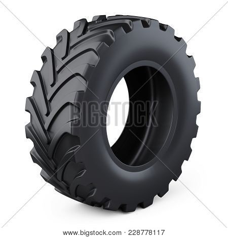 Big New Tire For Industrial Truck. Car Wheel. 3d Illustration Over White Background.