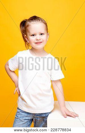 Adorable Stylish Girl Posing On Yellow Color Background
