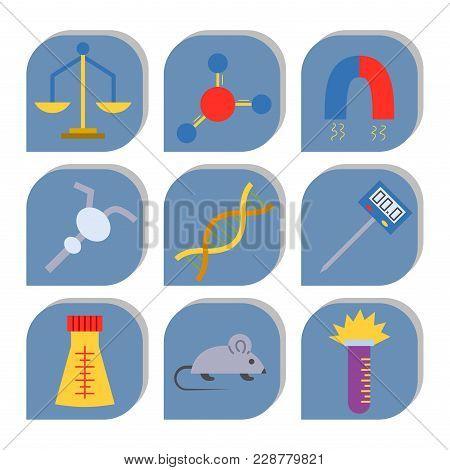 Lab Vector Symbols Test Medical Laboratory Scientific Biology Design Molecule Biotechnology Science