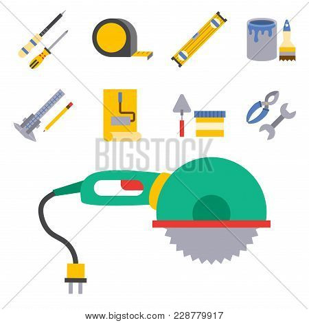 Construction Vector Worker Equipment. House Renovation Handyman Tools Carpentry Industry Illustratio