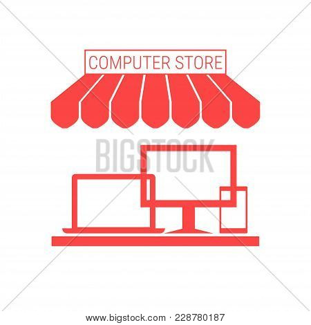 Computer Store, Electronic Devices Shop Single Flat Vector Icon. Striped Awning And Signboard. A Ser