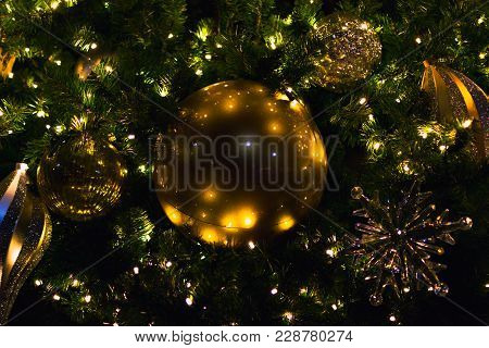 Giant Gold Christmas Tree Ordainment On A Huge Tree.