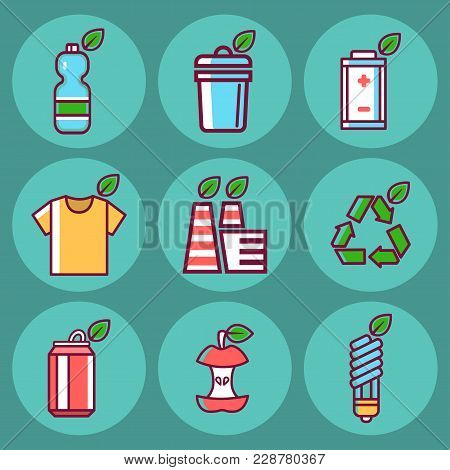Waste Rubbish Vector Pollution Ecology Recycling Set Outline Eco Energy Concept Environment Trash Ve