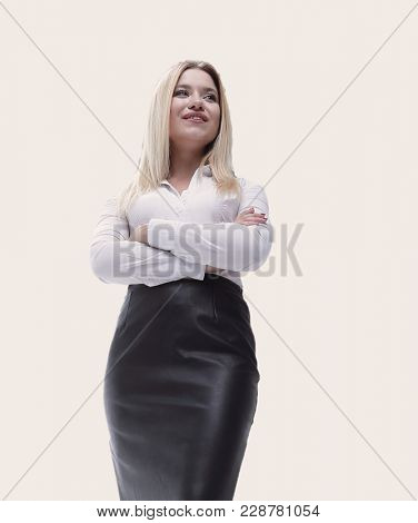 portrait in full growth confident young business woman making a move.