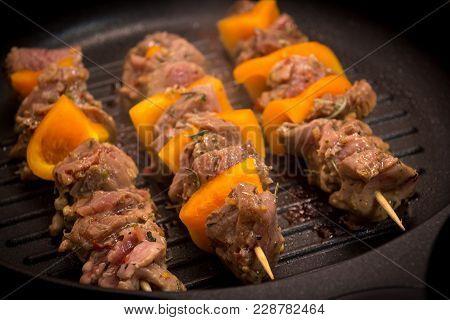 Pork Skewer Kebab On Stove Top Grill