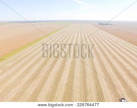 Aerial View Field After Crop In America