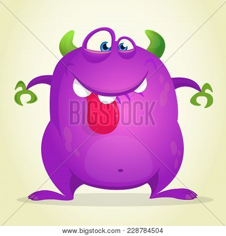 Angry Cartoon Monster Showing Tongue. Vector Illustration Of Purple Monster Character For Halloween
