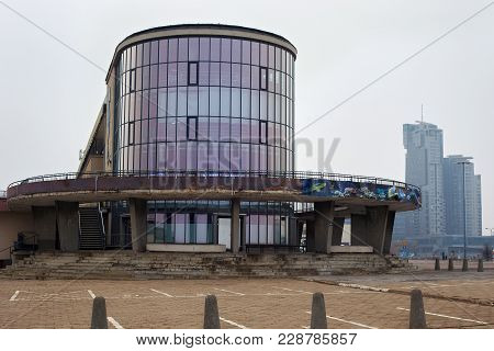 Gdynia, Poland - March 09, 2016: View Of The Shabby Building Of The Aquarium In Gdynia. The Gdynia A