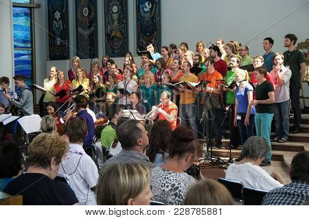 Krakow, Poland - May 28, 2016: Musical Performance With Unknown People In Basilica Of The Divine Mer