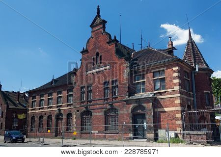 Gdansk, Poland - June 07, 2014: The Old Abandoned Building Of The Former Post Office Of Gdansk. Work