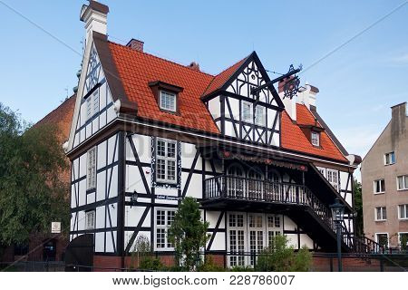 Gdansk, Poland - June 07, 2014: Half-timbered Building Known As The House Of The Guild Of Mills. Was