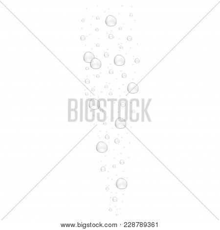 Realistic Underwater Fizzing Air Bubbles Isolated On White Background. Air Bubbles In The Water. Vec