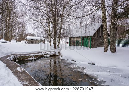 A Small Pond On The Holy Mother Of God Spring On A Winter Day In The Village Of Vyatskoe, Yaroslavl