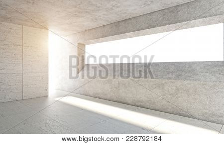 empty space modern concrete room with light from the windows 3d rendering image