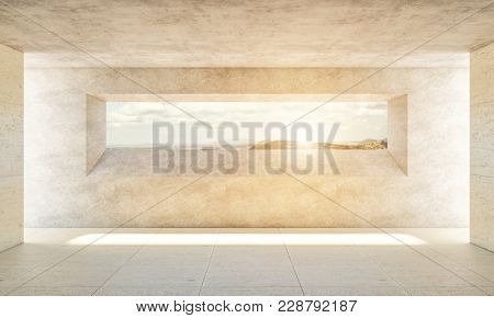 concrete indoor with big window and sunset background 3d rendering image