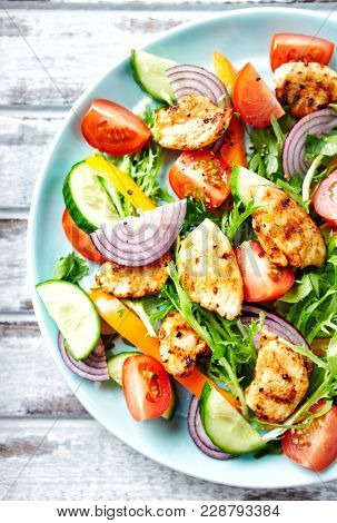 Chicken Salad with Colorful Vegetables