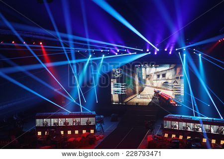 ST. PETERSBURG, RUSSIA - FEBRUARY 23, 2018: Teams of gamers during St. Petersburg Cyber-Sport Festival. Main event of the festival is the Counter-Strike: Global Offensive tournament