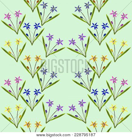 Bluebell, Scilla, Primroses. Texture Of Flowers. Seamless Pattern For Continuous Replicate. Floral B