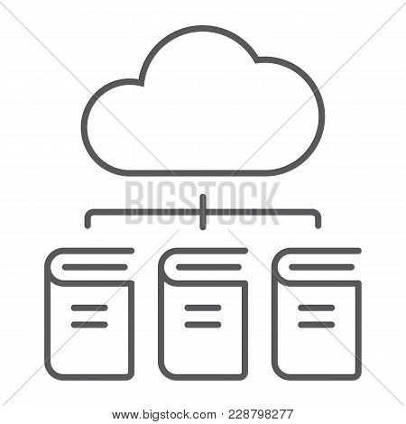 Digital Library Thin Line Icon, E Learning And Education, Cloud Book Sign Vector Graphics, A Linear