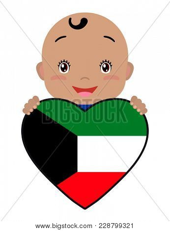 Baby and a Kuwait flag in the shape of a heart. Smiling face of a child, symbol of patriotism, independence, travel, emblem of love.